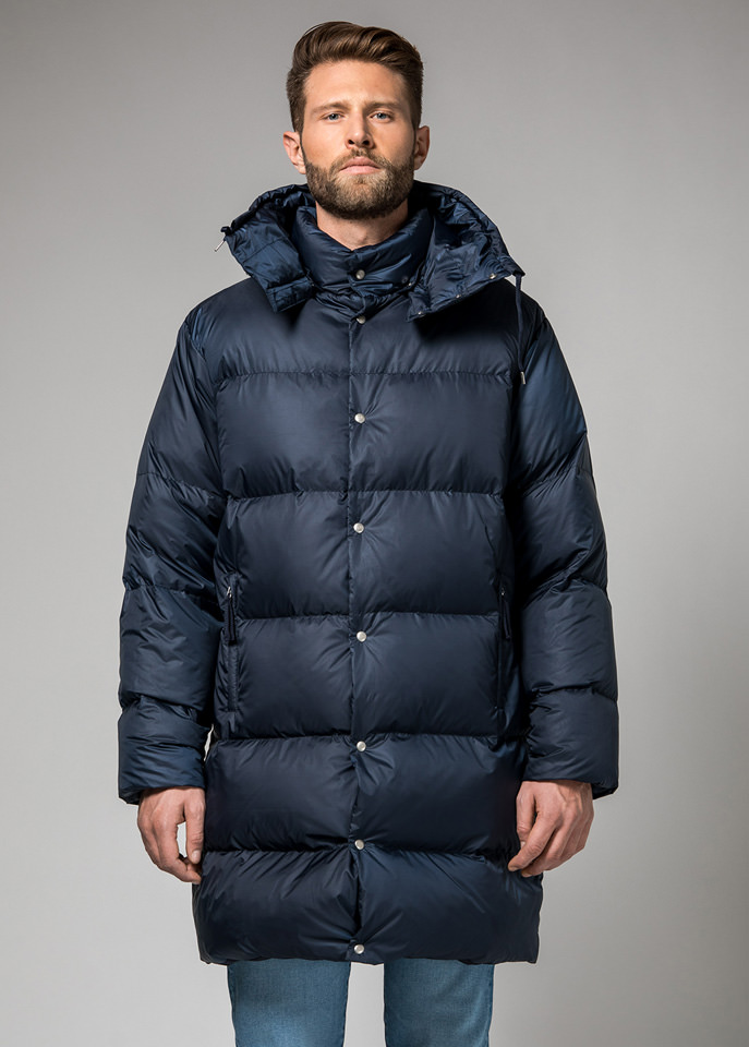 HOLUBAR: MUSTANG LONG BU15 DOWN JACKET COLOR DARK BLUE