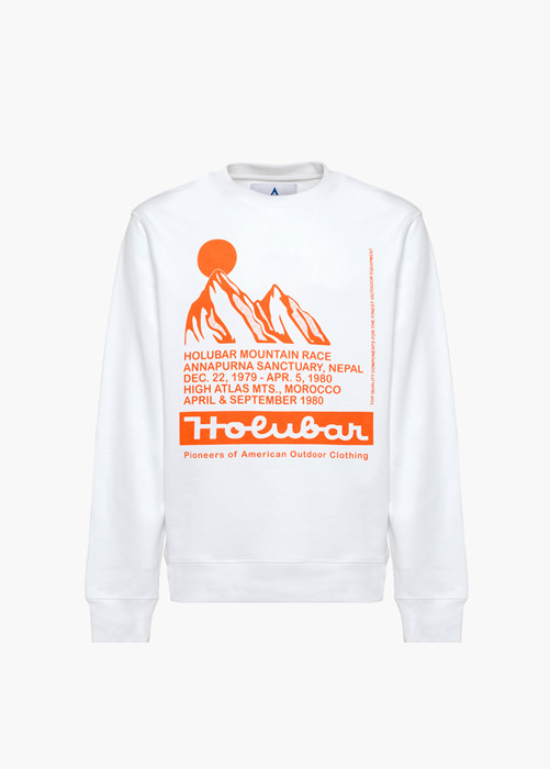 HOLUBAR: MOUNTAIN RACE BF12 WHITE SWEATSHIRT