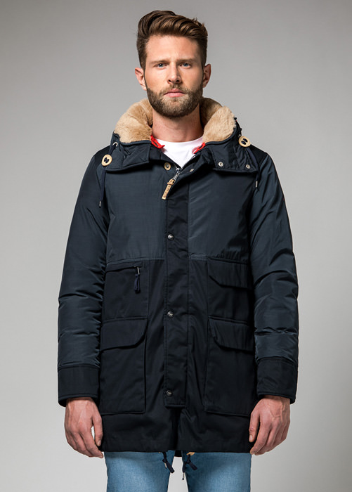 HOLUBAR: METRO LONG NL27 PARKA JACKET COLOR DARK BLUE
