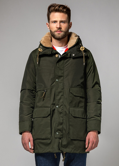 HOLUBAR: METRO LONG NL27 PARKA JACKET COLOR DARK GREEN